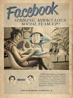 Cartel estilo retro de la marca Facebook, es como si nuestros abuelos lo hubieran vivido!