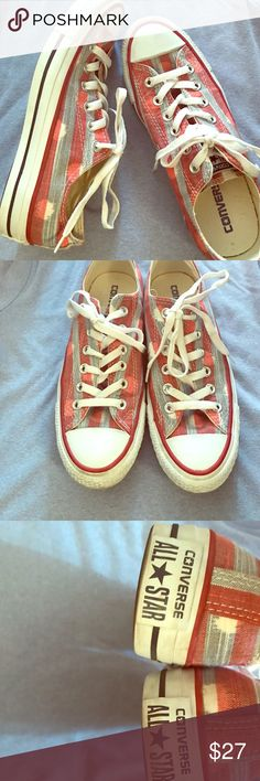 Converse AllStar sneakers ❤ 7.5 women's EUC Converse All Star sneakers in Excellent mildly used condition!!. My daughter wanted these so badly but were too small-she tried but defiantly didn't fit❤ super cute (look like pics) White base with faded red and white stripes and little white (either for tie dye or distressed look) blotches-they are  USA shoes!! Too cute❤❤❤❤❤ SAVE 15% by bundling 2 or more items Converse Shoes Sneakers