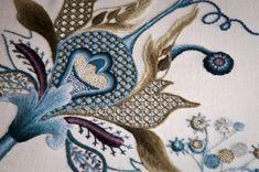 Jacobean crewelwork by Jenny Adin - on Apprenticeship The Royal School of Needlework.