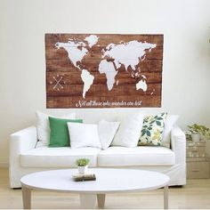 Thisworld mappainted on reclaimed wood just oozes charming rustic. Via: Etsy