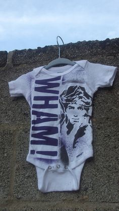 funny baby onesie 80s music George Michael WHAM hand stenciled and spray painted tshirt by Rainbow Alternative on Etsy