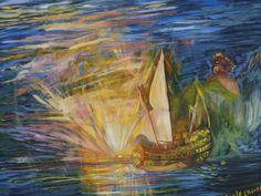 Daniele Crivelli. 108 Ulisse che fugge dall'isola di Polifemo - Ulisse Escaping from the Polifemo Isle. olio su tela, 100x160,1997