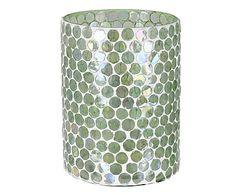 Windlicht Mosaic, wit/transparant, Ø 12 cm