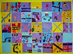 """Made construction paper freedom quilts. An art project to go with """"Sweet Clara and the freedom quilt"""" Black History month."""