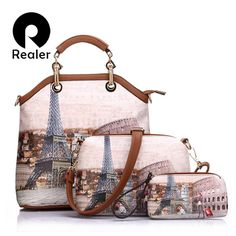 Realer 3 Pcs Printed Women Large Tote Bag