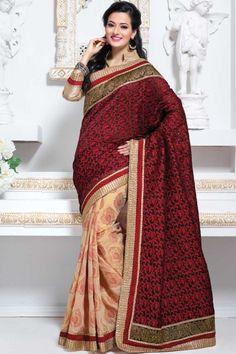 Black and Cream Yellow Cotton and Jacquard Embroidered Festival Saree Sku Code:99-4093SA792155 $ 58.00