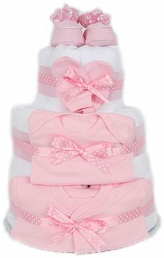 3 Tier Pink Nappy Cake