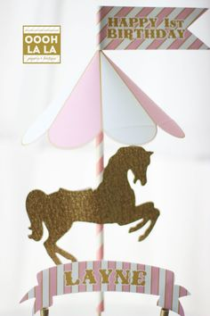 Introducing the Merry-Go-Round Horse Cake Topper in pink and gold! A fabulous focal point for your dessert table that is sure to impress! The