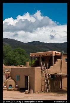 Pueblo house. Taos, New Mexico, USA (color)