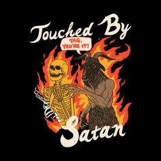 Touched By Satan by HillaryWhiteRabbit on DeviantArt Wall Prints, Poster Prints, Posters, Satanic Art, Retro Illustration, Vintage Cartoon, Psychedelic Art, Up Girl, Skull Art