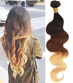 "Wholesale18"" 8Bundles Ombre Brazilian Human Hair 3tone 1b33#27#,50g/pc Wigiss #WIGISS #HairExtension"