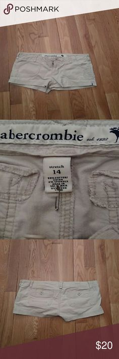 """Abercrombie & Fitch This is a good condition pair of Abercrombie & Fitch cream color shorts dimensions are waist 34 in scene 1 and half length 8 """"rise 4. Abercrombie Fitch Pants"""