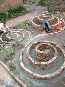 Garden Yard Ideas, Lawn And Garden, Garden Paths, Garden Beds, Garden Projects, Garden Art, Garden Design, Spiral Garden, Brick Garden