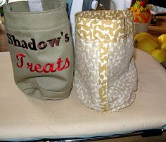 Drawstring treat pouch DIY, round with flat bottom. Exactly what I needed! Dog Treat Pouch, Treat Bags, Diy Dog Bag, Doggie Bag, Diy Dog Treats, Pouch Pattern, Baby Girl Shoes, Diy Stuffed Animals, Couture