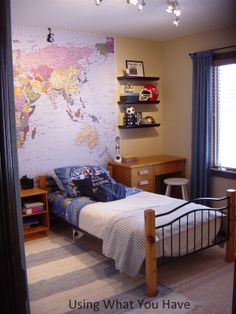 Pre-teen boys room with map