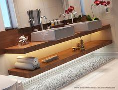 banheiro com bancada de madeira - Pesquisa Google