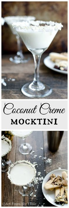 Creamy, sweet and tropical tasting~ This Coconut Creme Mocktini will have you hula dancing in no time. Perfect for a girls night in or entertaining your friends. Perfect for your next holiday gathering. Summer Recipes, Fall Recipes, Real Food Recipes, Holiday Recipes, Drink Recipes, Cocktails, Non Alcoholic Drinks, Beverages, Appetizers