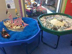 Pirate/under The sea tuff spot Sand And Water, Water Play, Tuff Spot, Tuff Tray, Sensory Bins, Preschool Classroom, Eyfs, Small World, Under The Sea