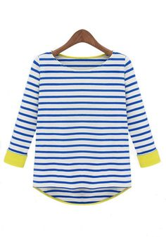 Blue Striped Patchwork Round Neck Cotton T-Shirt