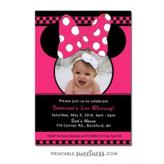 Minnie Mouse Birthday Party Invitation – Custom Personalized Printable with Picture | Printable Sweetness