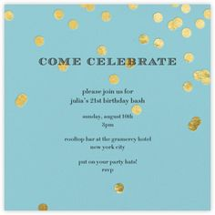 Come Celebrate - Gold on Aqua - Paperless Post