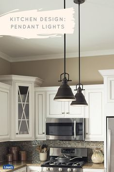 Lighting can dramatically alter the style and function of a room. Here, pendant lights make the kitchen appear larger while highlighting a central work space.