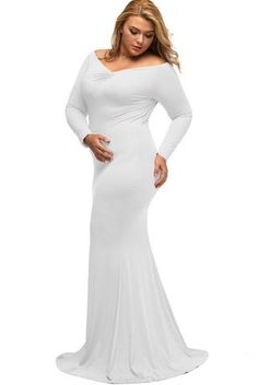 Robes Longue Soiree Grande Taille Manche Longue Blanc Col en V Hiver