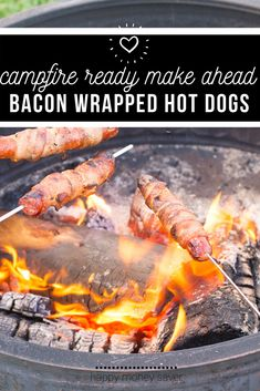These bacon wrapped hot dogs give a tasty twist to the classic roasted hot dog!! Seriously these are so delicious, so simple, and a great qay to change up your camping meals a little bit. #easy #camping #makeahead #makeaheadcamping #freezermeals | happymoneysaver.com Vegetarian Freezer Meals, Chicken Freezer Meals, Freezer Friendly Meals, Make Ahead Freezer Meals, Freezer Recipes, Freezer Cooking, Camping Food Make Ahead, Camping Meals, Easy Weekday Meals