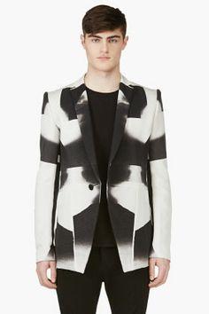 Julius Beige & Black Silk-blend Printed Blazer for men