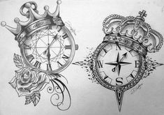 clock & compass tattoo designs with king & queen crowns Paar Tattoos, Neue Tattoos, Body Art Tattoos, Sleeve Tattoos, Tatoos, Ring Tattoos, Flower Tattoos, Muster Tattoos, Geniale Tattoos