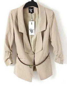 Women 2012 New Style Pleated Long Sleeve Khaki Sweet Blends Shrug Suit S/M/L/XL@II0163k