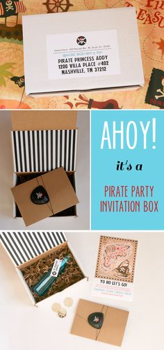 So lovely moments - inspirations mariage et famille -pirate-party-box Pirate Birthday, Birthday Box, Pirate Theme, 6th Birthday Parties, Pirate Party Invitations, Box Invitations, Birthday Invitations, Party In A Box, Party Entertainment
