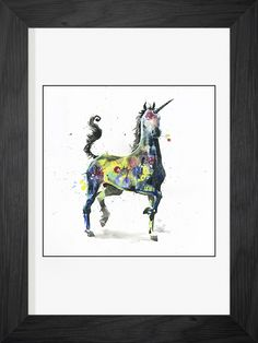 Unicorn by Lora Zombie - Prints available for every budget at Eyes On Walls http://www.eyesonwalls.com/collections/framed-print-collection/artist-lora-zombie?utm_source=pinterest&utm_medium=ads&utm_campaign=Lora%20Zombie%20Spring&utm_content=unicorn