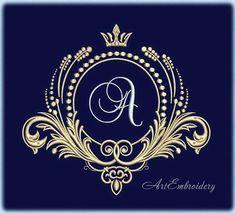Royal Monogram Frame Machine Embroidery Design in three