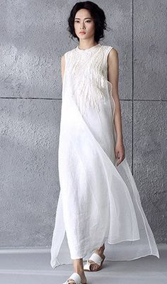 White Embroidered High Low Linen Dress