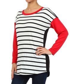 Another great find on #zulily! Red & Black Stripe Scoop Neck Top by J-Mode USA Los Angeles #zulilyfinds
