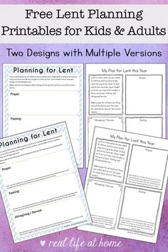 Working on planning for Lent? Here are some free printable Lent ideas pages to help you plan for your Lenten prayer, fasting, and almsgiving/service. These pages will help make this Lent more prayerful and meaningful. Printable Activities For Kids, Worksheets For Kids, Free Printables, Family Activities, Printable Worksheets, Bible Lessons, Lessons For Kids, Lent Prayers, Catholic Kids