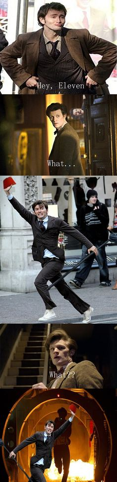 David Tennant In Places He Shouldn't Be! : Photo David Tennant stole Matt Smith's fez | Lol Doctor Who actors