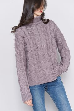 #mixxmix Chunky Cable Knit Turtleneck Sweater