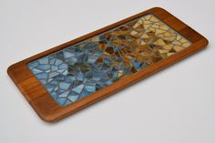 Stained glass mosaic on mid-century modern Danish teak tray by red squirrel mosaics, via Flickr