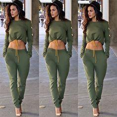 2Pcs Women Ladies Crop Top Patchwork Sports Tracksuit Pants Sweat Trousers Gift