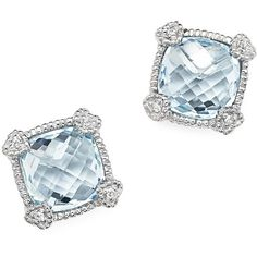 Judith Ripka Sterling Silver Cushion Stud Earrings with White Sapphire... (21,185 INR) ❤ liked on Polyvore featuring jewelry, earrings, blue topaz jewelry, sterling silver heart jewelry, heart shaped stud earrings, sterling silver stud earrings and heart earrings