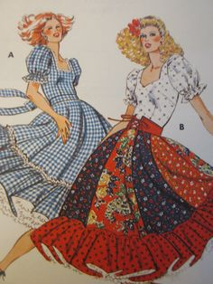 1970s Ladies Square Dance Dress Pattern Kwik Sew 913 Szs 6 to 12 Uncut