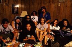 Soundgarden & Pearl Jam backstage at Lollapalooza 1992.