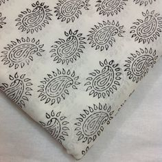 Block Print Fabric Indian - Organic Cotton - Black and White Fabric - Soft Cotton - Cambric Cotton - Quilting / Dress Fabric by Yard