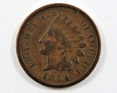 U.S. 1894 Indian Head One Cent Coin. Indian Head, Old Coins, Coin Collecting, Goodies, Diamonds, History, Paper, Board, Handmade Gifts