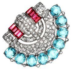 Very RARE Art Deco Trifari Pave, Ruby & Aquamarine Paste Fan-Shaped Dress Clip #Trifari