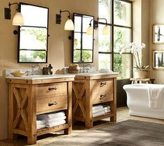 Farmhouse bathroom vanity for Sale in Miami, FL - Modern Rustic Master Bathroom, Rustic Bathroom Vanities, Rustic Bathrooms, Bathroom Furniture, Bathroom Interior, Modern Bathroom, Brown Bathroom, Bathroom Mirrors, Master Bathrooms