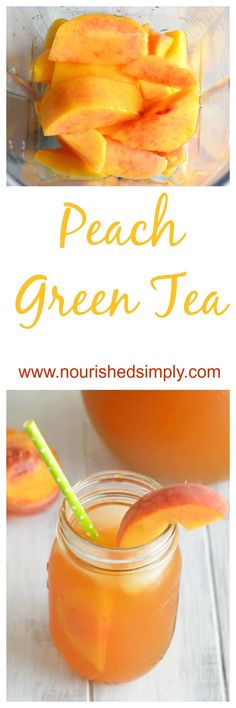 Dreaming of Summer and sipping this refreshing peach green tea made with fresh peaches. This is a perfect summer drink recipe. Dreaming of Summer and sipping this refreshing peach green tea made with fresh peaches. This is a perfect summer drink recipe. Green Tea Recipes, Summer Drink Recipes, Summer Drinks, Winter Recipes, Summer Parties, Peach Green Tea, Fresh Green, Summer Fresh, Green Teas