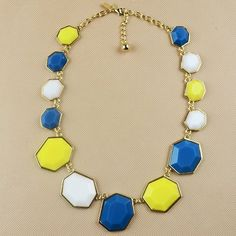 Exaggerate Blue Yellow White Sweater Chain Necklace $9.48